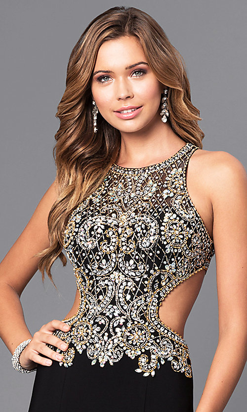 Image of jewel embellished long prom dress with cut-out back. Style: JT-632 Detail Image 2