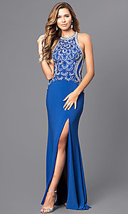 High Neck Open Back Embellished Bodice Prom Dress