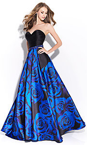 Long Floral Print A-Line Strapless Prom Dress