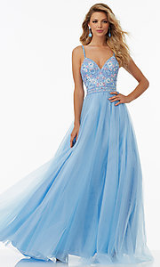 Embroidered Tulle Mori Lee Sleeveless Prom Dress