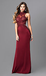 Image of high-neck Elizabeth K long prom dress with open back. Style: FB-GL2225 Front Image