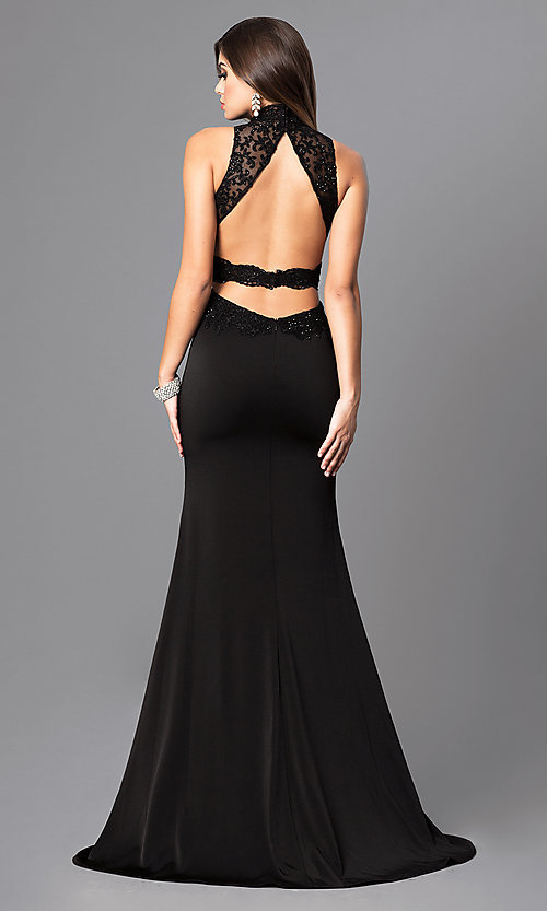 Image of high-neck Elizabeth K long prom dress with open back. Style: FB-GL2225 Back Image
