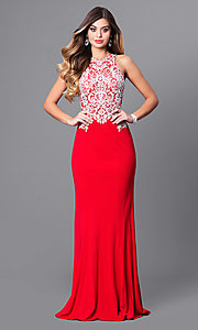 Long Red Prom Dress with Embroidered Bodice