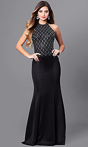 Long High Neck Halter Prom Dress