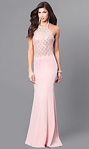 Image of open-back long formal prom dress with beaded halter. Style: FB-GL2285 Detail Image 2