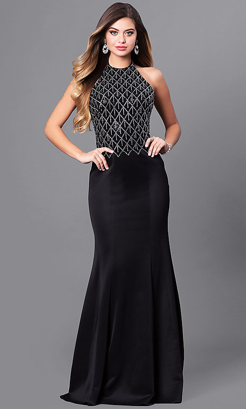 Image of open-back long formal prom dress with beaded halter. Style: FB-GL2285 Front Image