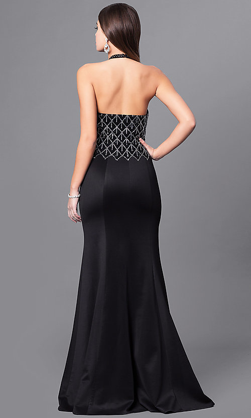 Image of open-back long formal prom dress with beaded halter. Style: FB-GL2285 Back Image