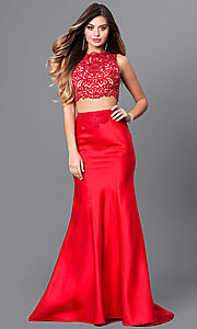 Two-Piece Prom Dress with Lace Top and Long Skirt