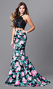 Black Floral Print Two-Piece Prom Dress