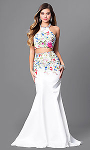 Two-Piece Floral Embroidered Halter Prom Dress
