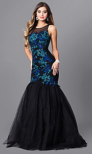Long Black Prom Dress with Blue Embroidery