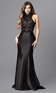 High-Neck Embroidered Prom Dress