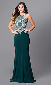 High-Neck Prom Dress with Beaded-Embroidered Bodice