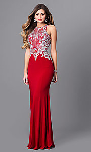 Image of high-neck prom dress with beaded-embroidered bodice. Style: FB-GL2232 Detail Image 3