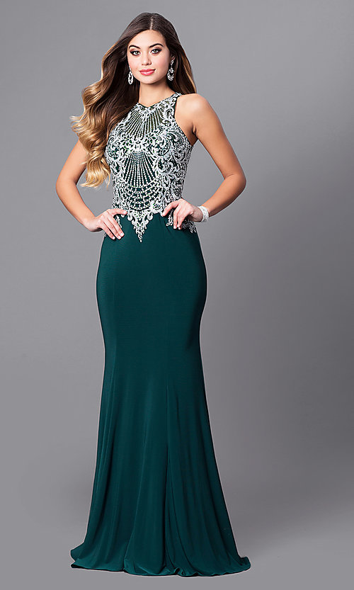 Image of high-neck prom dress with beaded-embroidered bodice. Style: FB-GL2232 Front Image