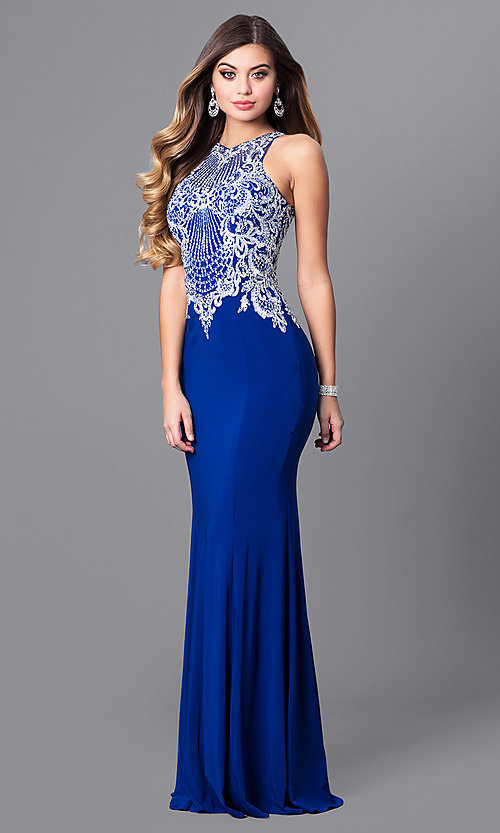 Image of high-neck prom dress with beaded-embroidered bodice. Style: FB-GL2232 Detail Image 1