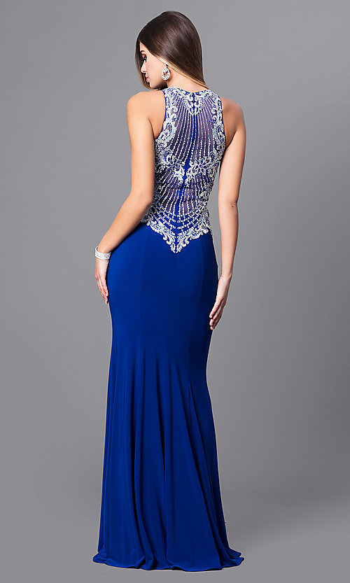 Image of high-neck prom dress with beaded-embroidered bodice. Style: FB-GL2232 Back Image