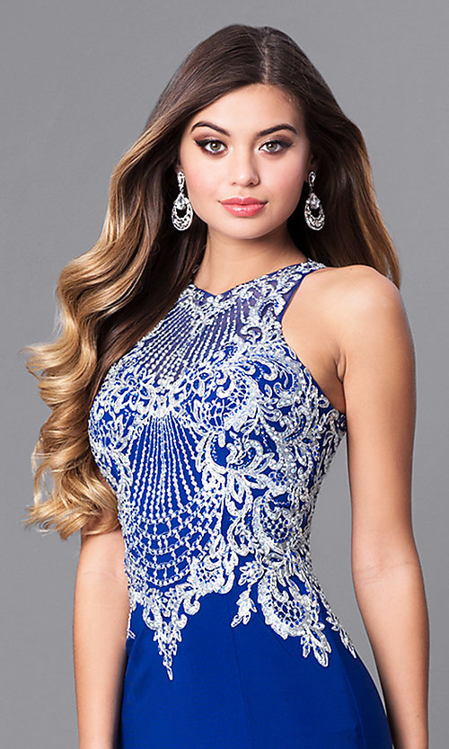 Image of high-neck prom dress with beaded-embroidered bodice. Style: FB-GL2232 Detail Image 2