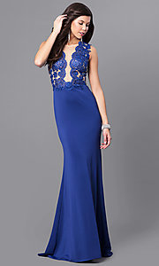 Long Sleeveless Prom Dress with Lace-Embellished Bodice