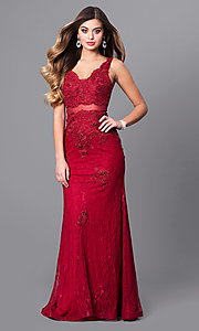 V-Neck Lace Embroidered Prom Dress
