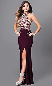 Image of long eggplant purple prom dress with beaded bodice. Style: FB-GL2282 Front Image