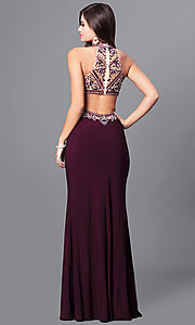 Image of long eggplant purple prom dress with beaded bodice. Style: FB-GL2282 Back Image