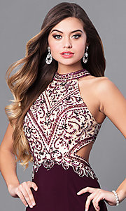 Image of long eggplant purple prom dress with beaded bodice. Style: FB-GL2282 Detail Image 1