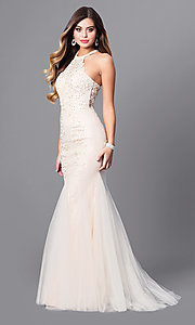 Lace and Tulle Long Prom Dress