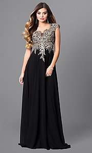Image of long Elizabeth K prom dress with cap sleeves. Style: FB-GL2229 Detail Image 3