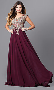 Image of long Elizabeth K prom dress with cap sleeves. Style: FB-GL2229 Front Image