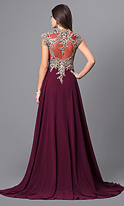 Image of long Elizabeth K prom dress with cap sleeves. Style: FB-GL2229 Back Image