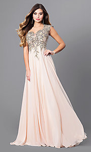 Long Elizabeth K Prom Dress with Cap Sleeves