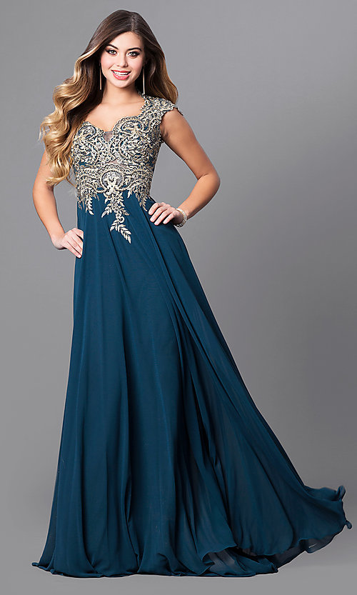 Image of long Elizabeth K prom dress with cap sleeves. Style: FB-GL2229 Detail Image 1