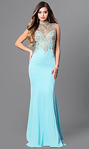 High Neck Long Prom Dress with Embellished Bodice