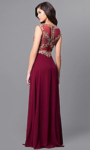 Image of long prom dress with lace appliques by Elizabeth K. Style: FB-GL2316 Back Image