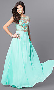 Image of long prom dress with lace appliques by Elizabeth K. Style: FB-GL2316 Detail Image 3
