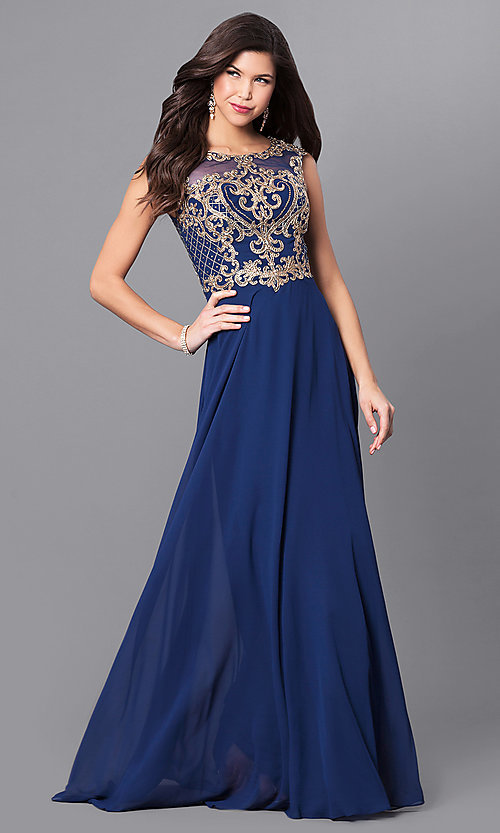 Image of long prom dress with lace appliques by Elizabeth K. Style: FB-GL2316 Detail Image 1