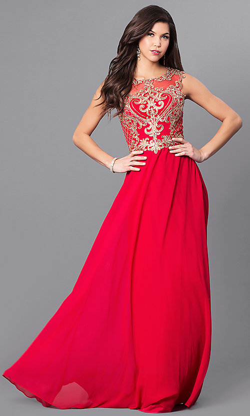 Image of long prom dress with lace appliques by Elizabeth K. Style: FB-GL2316 Detail Image 2