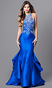 Long Mermaid Prom Dress with Embellished Sheer Bodice