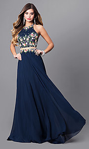 Navy Mock Two-Piece Prom Dress with High Neck