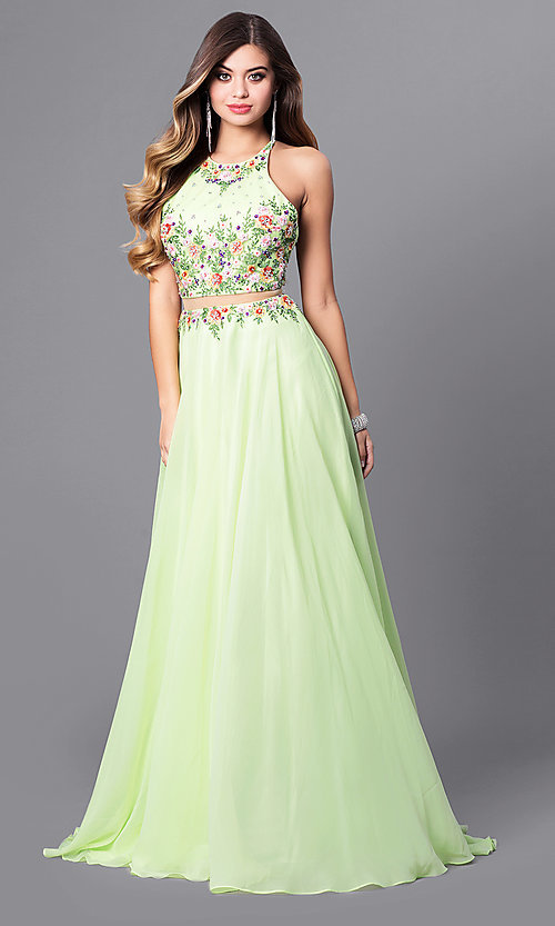 Image of navy mock two-piece prom dress with high neck. Style: FB-GL2340 Detail Image 3