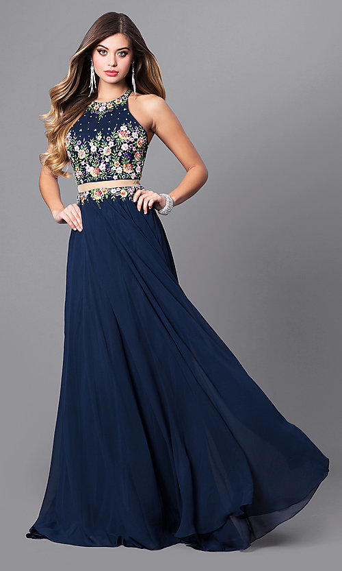Image of navy mock two-piece prom dress with high neck. Style: FB-GL2340 Front Image