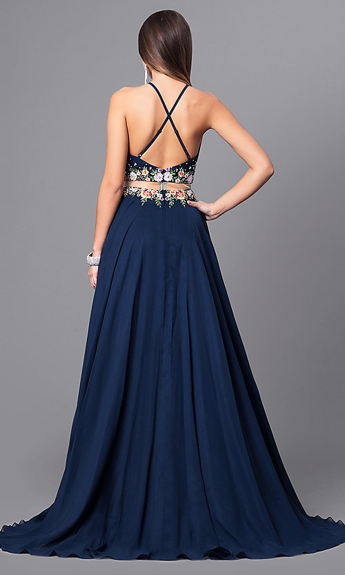 Image of navy mock two-piece prom dress with high neck. Style: FB-GL2340 Back Image