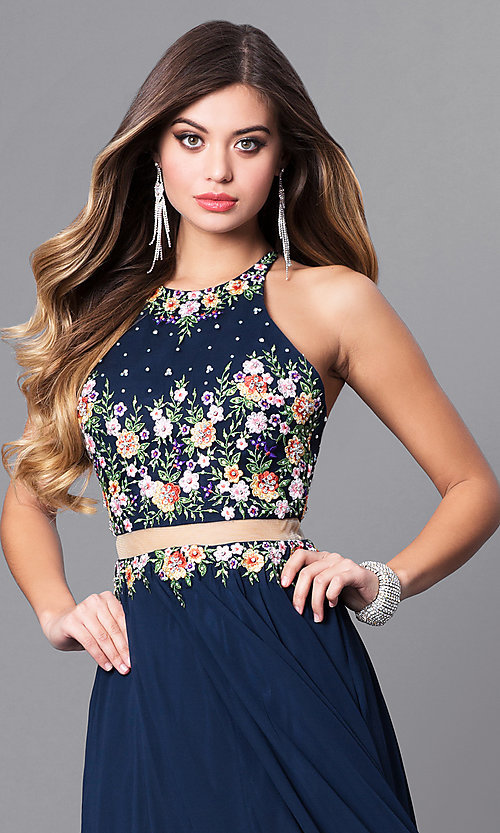 Image of navy mock two-piece prom dress with high neck. Style: FB-GL2340 Detail Image 1