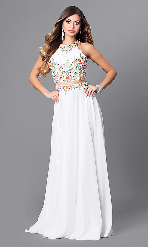 Image of navy mock two-piece prom dress with high neck. Style: FB-GL2340 Detail Image 2