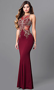 Embellished-Bodice Elizabeth K Long Prom Dress