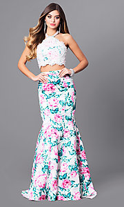 Two-Piece White Floral Print Prom Dress