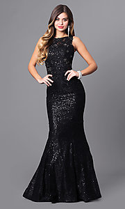 Long Sequin and Lace Black Prom Dress