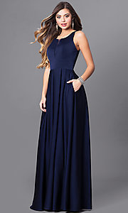 Prom Dress with Notched Scoop and Long Skirt