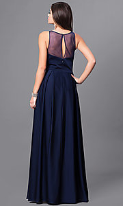 Image of long prom dress with notched scoop-neck and pockets. Style: FB-GL2365 Back Image